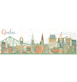 Abstract Quebec Skyline with Color Buildings vector image