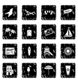 Miami set icons grunge style vector image