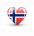 Heart-shaped icon with national flag of Norway vector image vector image