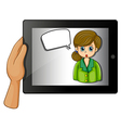 A hand holding a gadget with a girl with an empty vector image vector image
