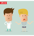Cartoon Doctor analyse x-ray a report - - EP vector image