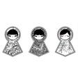 Three geometric babushka matryoshka dolls vector image vector image
