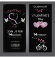 set invitation for Valentines day on chalk board vector image