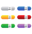 flash drives in different colors vector image vector image
