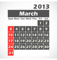 Calendar 2013 March vector image