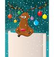 Christmas card with cartoon reindeer vector image