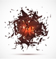 Red light explosion of black particles on white vector image