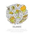 tropical island icon set hand draw cartoon vector image