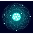 Illuminated model of an oxygen atom on a dark vector image