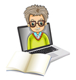 An image of a man inside a laptop with an empty vector image vector image