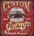 custom street rod garage vector image vector image