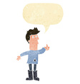 cartoon poor man with speech bubble vector image