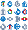 Geometric abstract blue and gray shapes Collection vector image