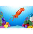 Cartoon squid with beautiful underwater world vector image