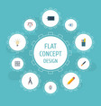flat icons writing eye compass and other vector image