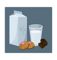 glass of milk with biscuits blue vector image