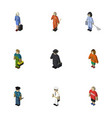 Isometric human set of detective officer lady vector image