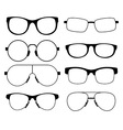 set of glasses of different shapes vector image vector image