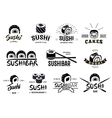 Monochrome Japanese Food Labels Set vector image vector image
