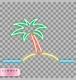 neon palm tree symbol vector image
