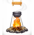 pot over the campfire camping outdoor cooking 3d vector image