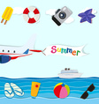 Summer theme with plane and other objects vector image vector image