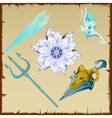 Magic and ancient symbols trident flower bird vector image