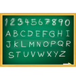 Abc alphabet type font set of on blackboard EPS 10 vector image