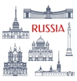 Russian architectural attractions thin line icons vector image