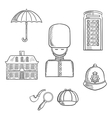 United Kingdom travel sketched icons vector image