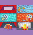 cinema movie banner set horizontal cartoon style vector image