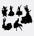 Female flamenco dancer silhouettes vector image