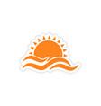 icon sticker realistic design on paper sun Sea vector image