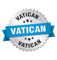 Vatican round silver badge with blue ribbon vector image