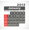 Calendar 2013 January vector image vector image
