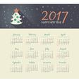 Calendar 2017 year with christmas tree vector image