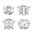 hand drawn emblem of softball vector image