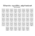 icons with printed slavic cyrillic alphabet vector image