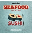 Seafood retro poster vector image