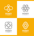set of retro vintage honey and bee flower vector image