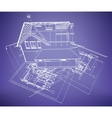 wireframe building over blueprint vector image