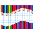 Color pencils wave on a squared paper vector image vector image