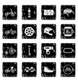 Biking set icons grunge style vector image