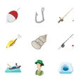 Catch fish icons set cartoon style vector image vector image
