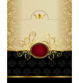 luxury gold label with emblem - vector image vector image