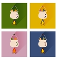 set flat icons with long shadow fish soup vector image
