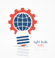 gear light bulb idea icon with globe sign vector image