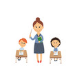 flat girl boy sitting at desk and teacher vector image