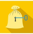 Full sack with a keyhole icon flat style vector image