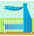 Greeting card with blue baby bed vector image
